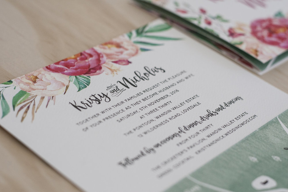 floral spring wedding invitation