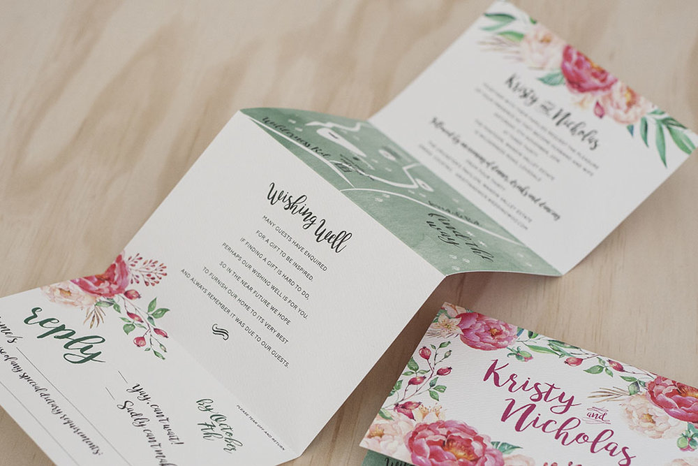 floral spring wedding folding invitation