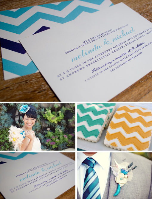 Chevron Wedding Invitation:  Off On My Bicycle  / Bride image via  greenweddingshoes.com  / Chevron cookies via  www.sweetsugarbelle.com  / Tie and buttonhole via  initimateweddings.com