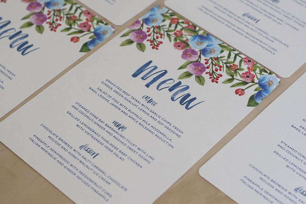 Botanical Floral Spring Wedding Menu