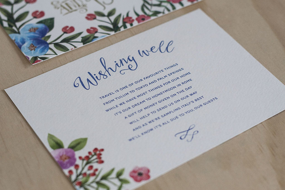 Botanical Floral Spring Wedding Wishing Well Cards
