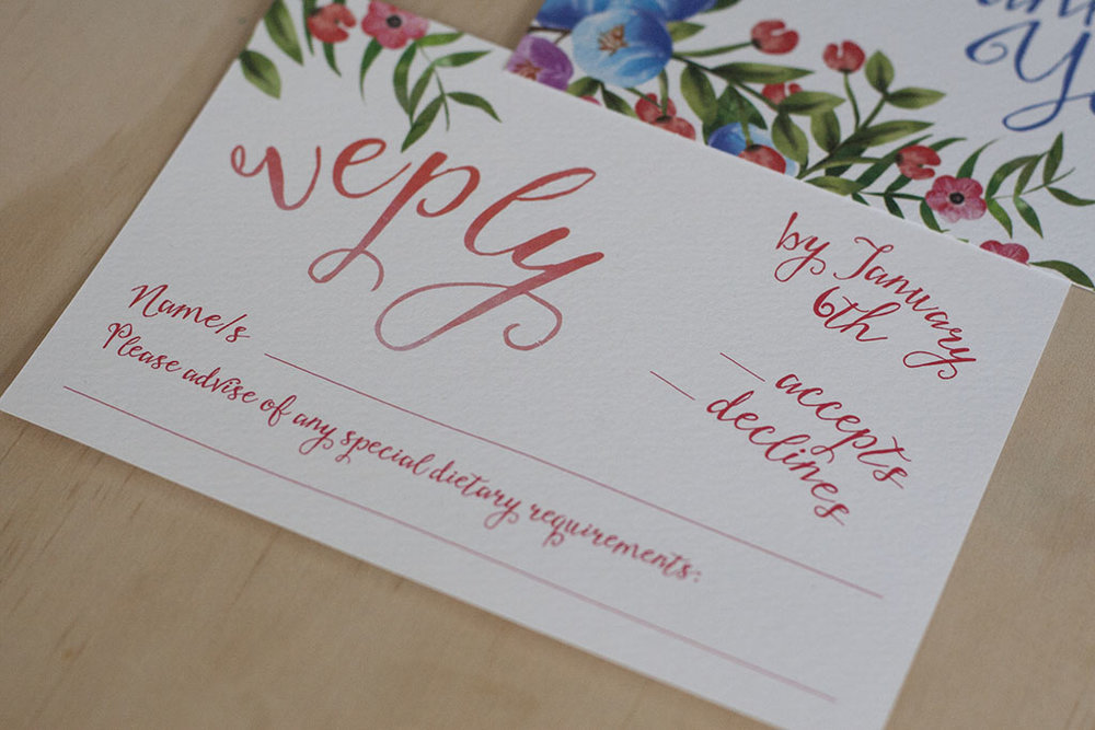 Botanical Floral Spring Wedding RSVP Card
