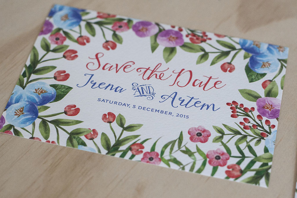 Botanical Floral Spring Wedding Save the Date