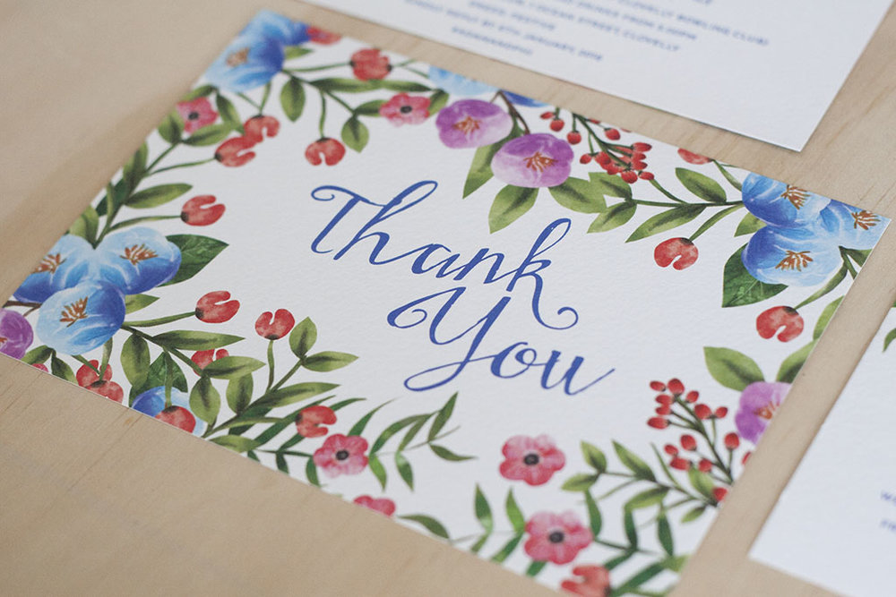 Botanical Floral Spring Wedding Thank You Cards