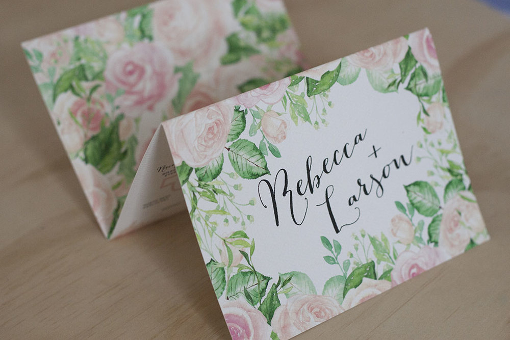 Pastel Pink Rose Leaf Design Formal Wedding Folding Invitation