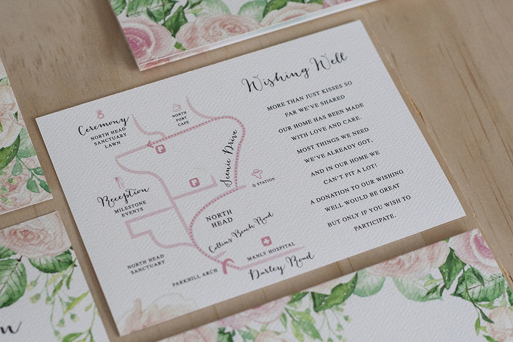 Pastel Pink Rose Leaf Design Formal Wedding Map
