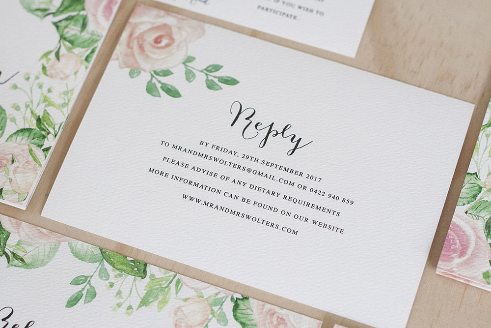 Pastel Pink Rose Leaf Design Formal Wedding RSVP Card