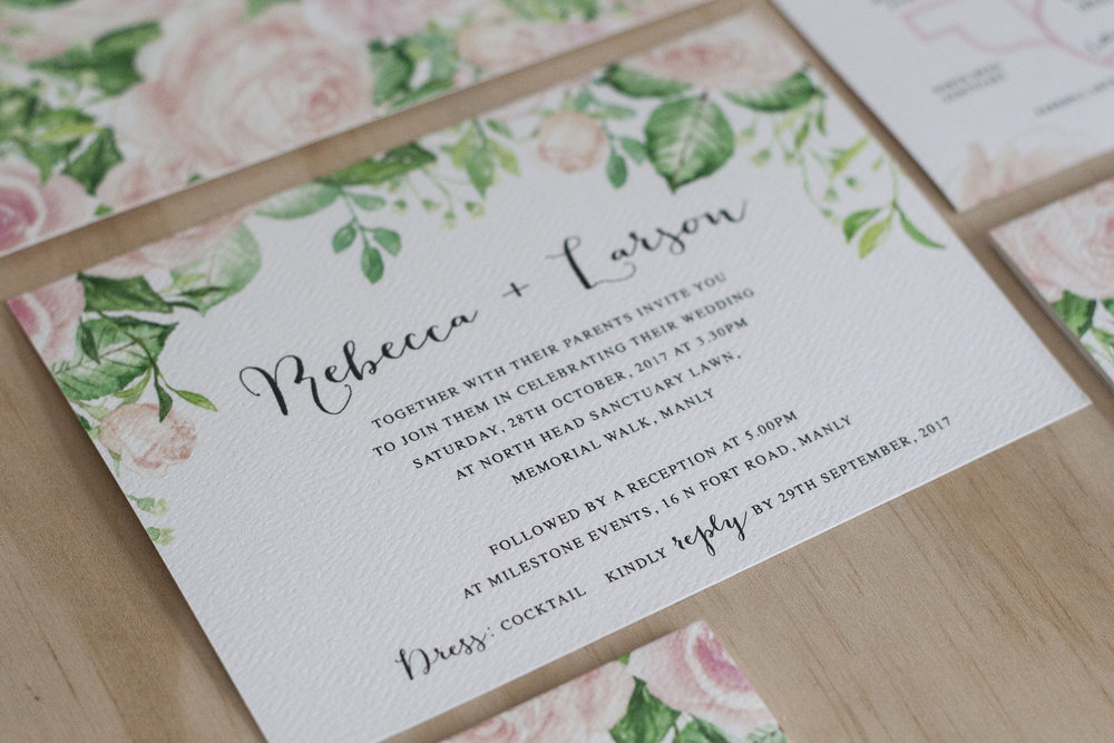 Pastel Pink Rose Leaf Design Formal Wedding Invitation