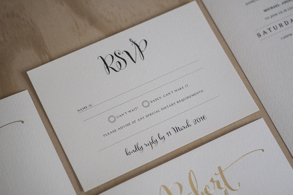 Formal Script Calligraphy Wedding RSVP Card with Gold Foil