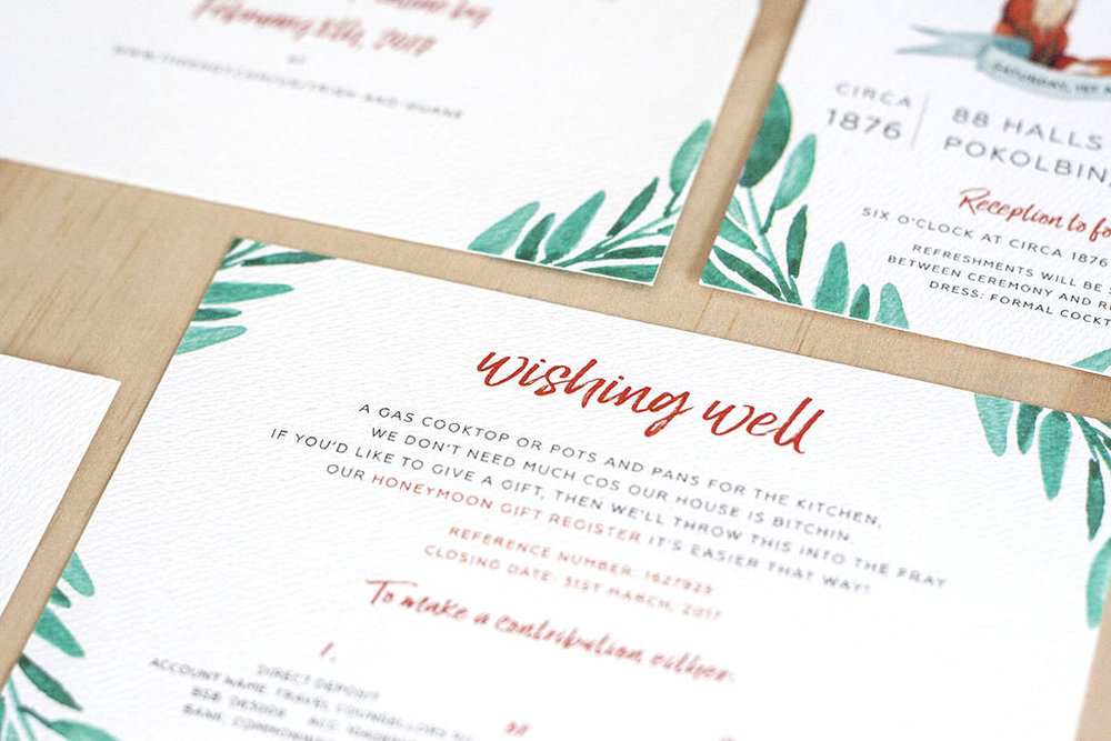 Fox Wedding Watercolour Wishing Well Cards Green Leaves Script Font