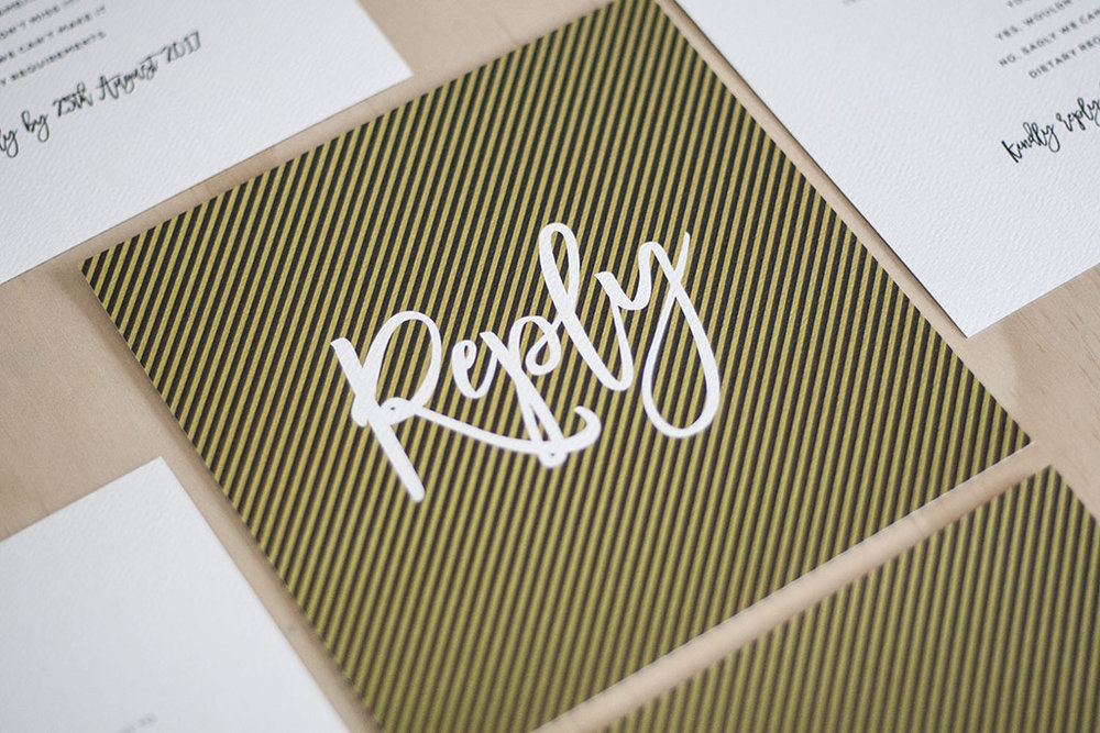 Spring Diagonal Stripes wedding RSVP Card