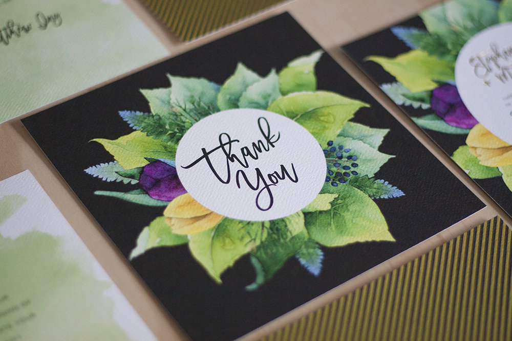 Spring wedding thank you card green gold foil script font