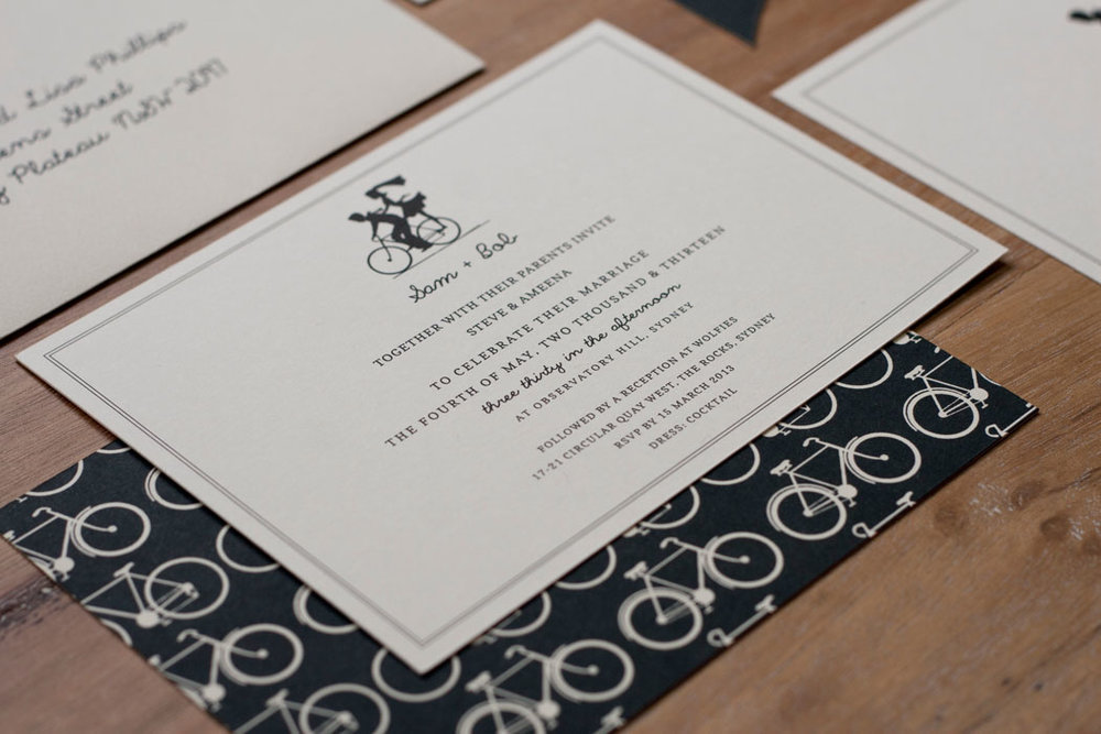 Bicycle Silhouette Wedding Bride and Groom Invitation