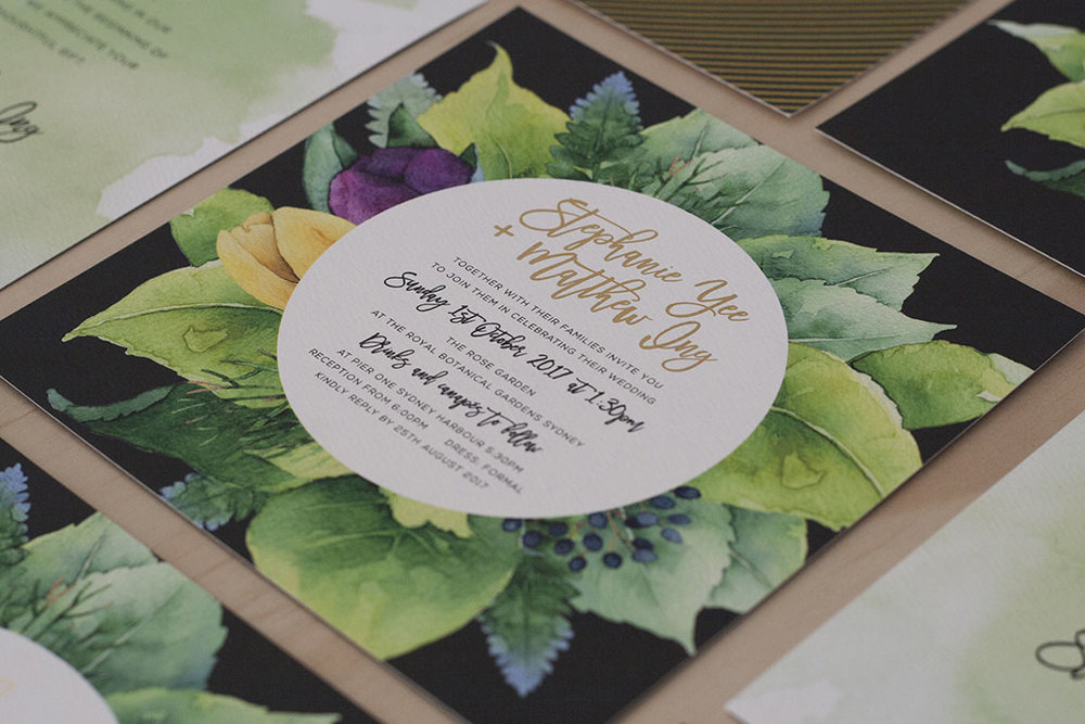 Foliage black greens purple wedding invitation