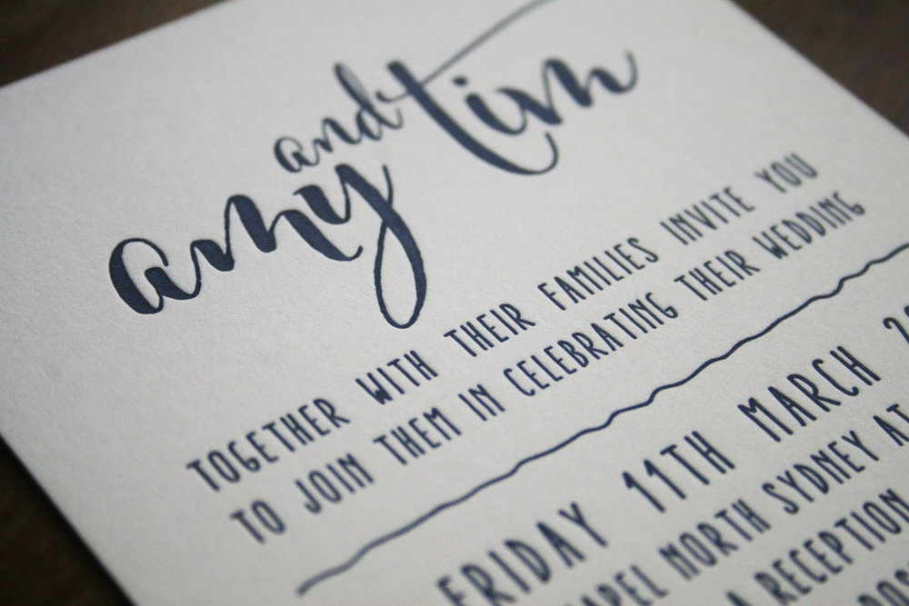 Navy and White Wedding Invitation Letterpress