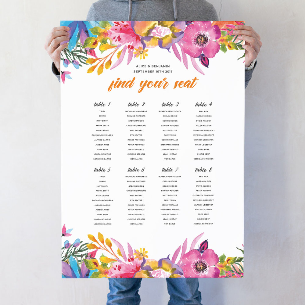 Blooms Wedding Seating Chart