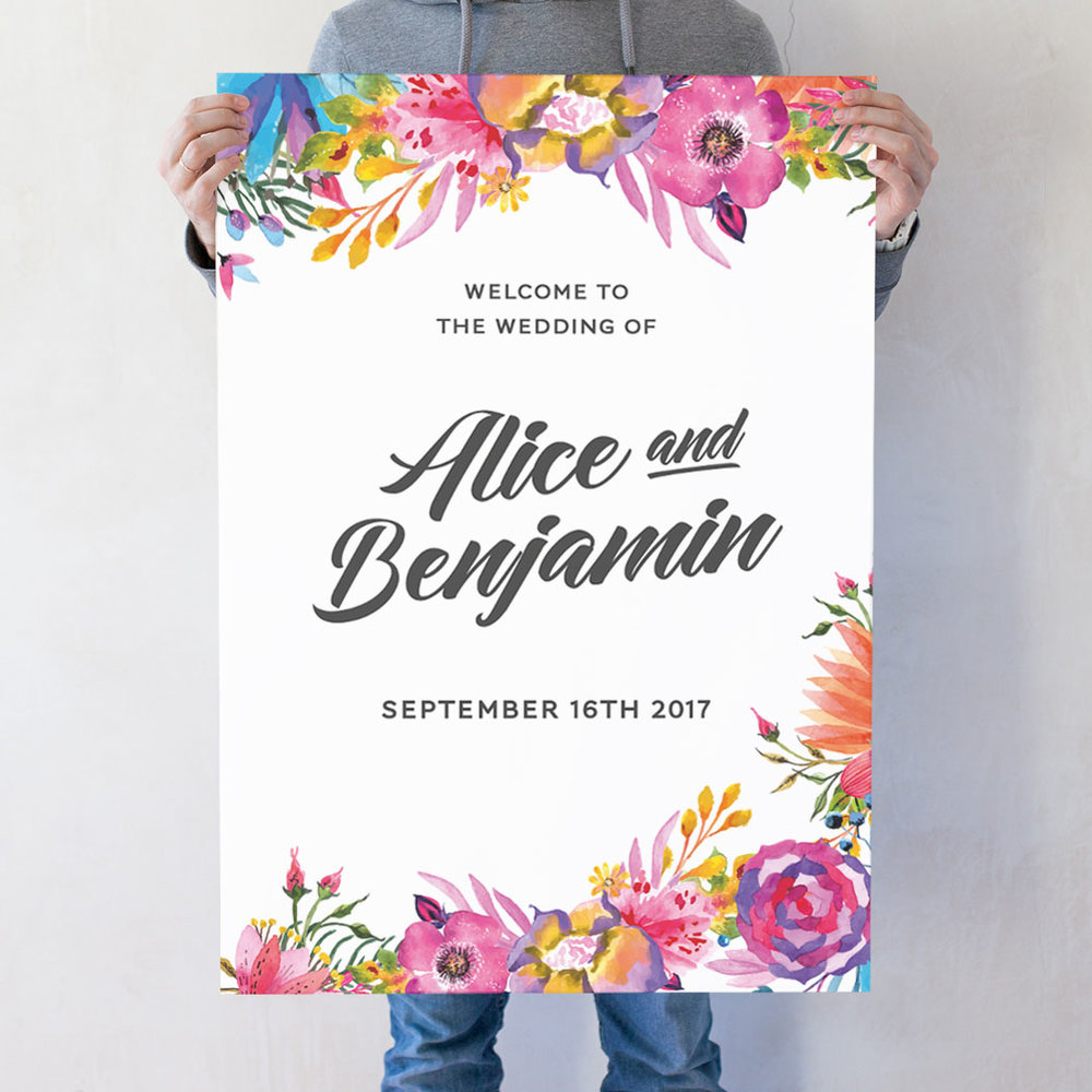 Blooms Wedding Welcome Poster