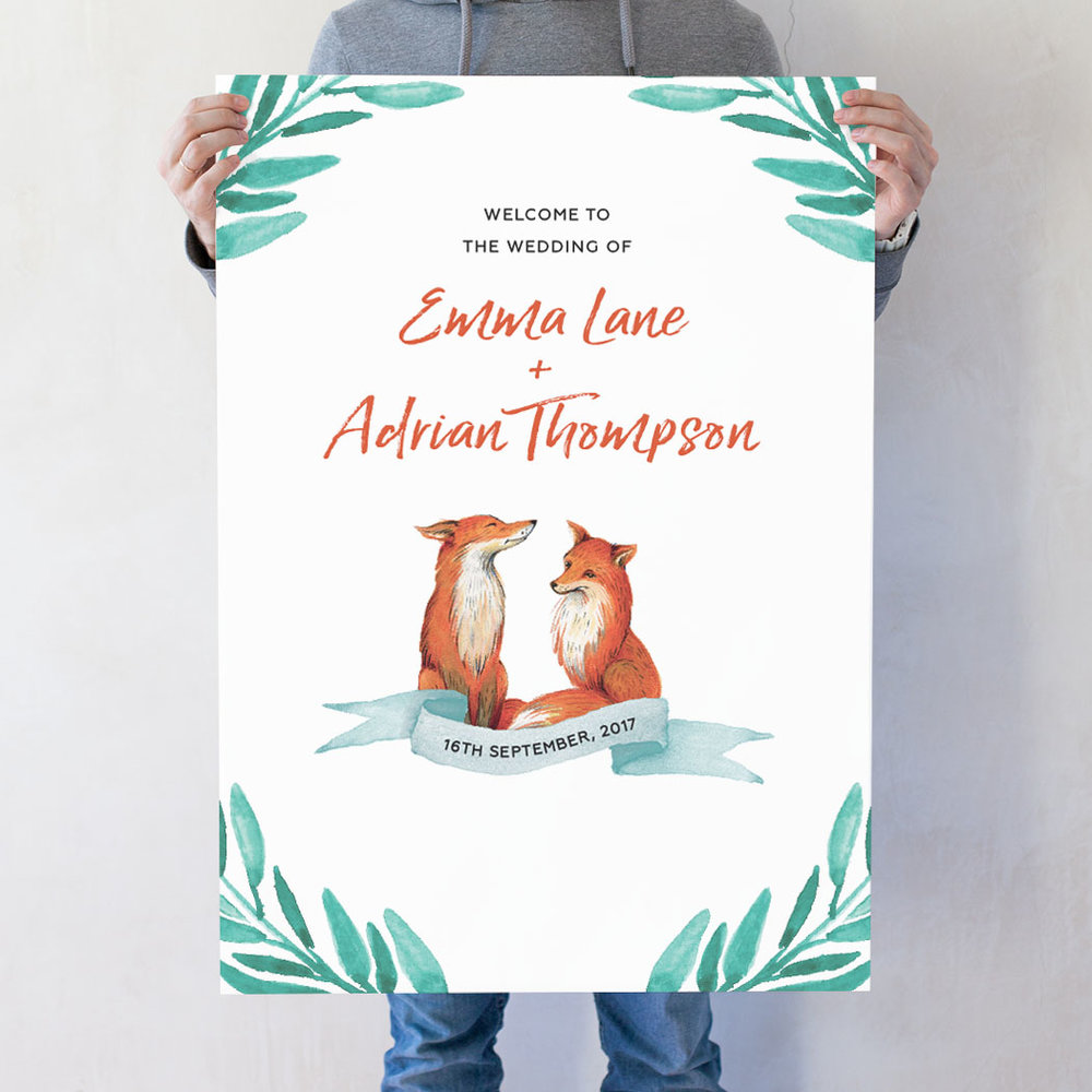 Foxes For Life Wedding Welcome Poster