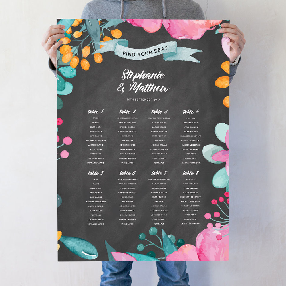 Petals Wedding Seating Chart