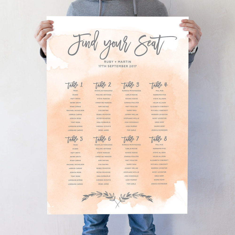Watercolour Wash Seating Chart