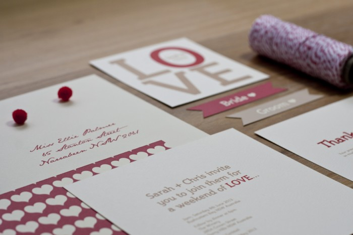 Wedding Invitation Custom Design Red