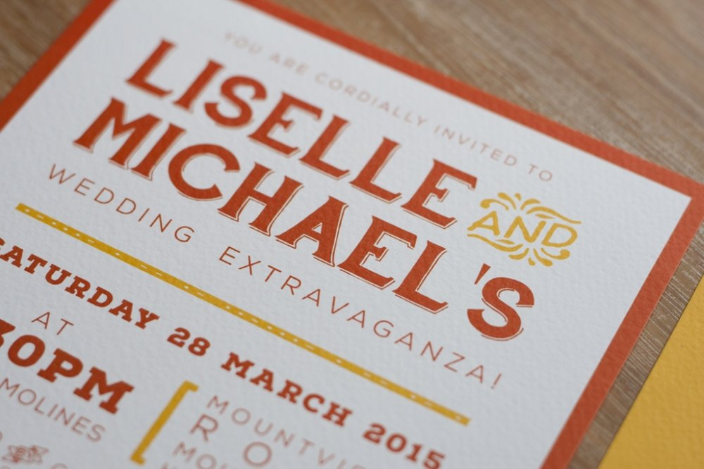Wedding Invitation Orange and Yellow