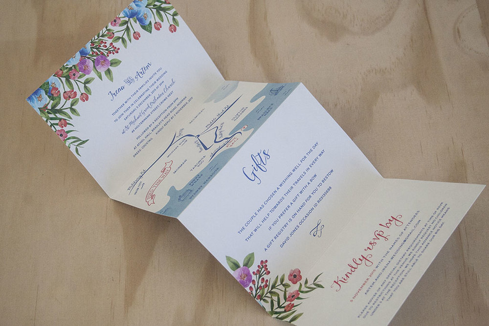 Botanical Floral Spring Wedding Folding Invitation