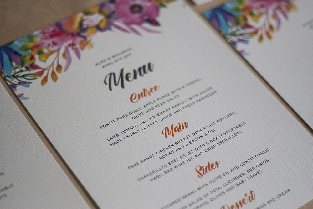 Floral Spring Bright Wedding Menu
