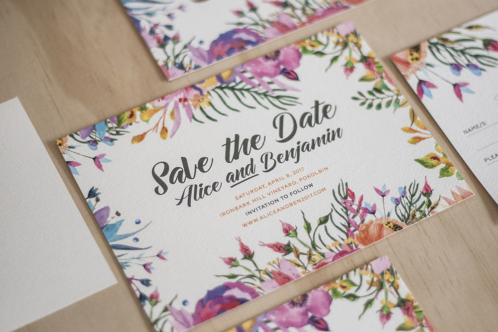 Floral Spring Bright Wedding Save the Date