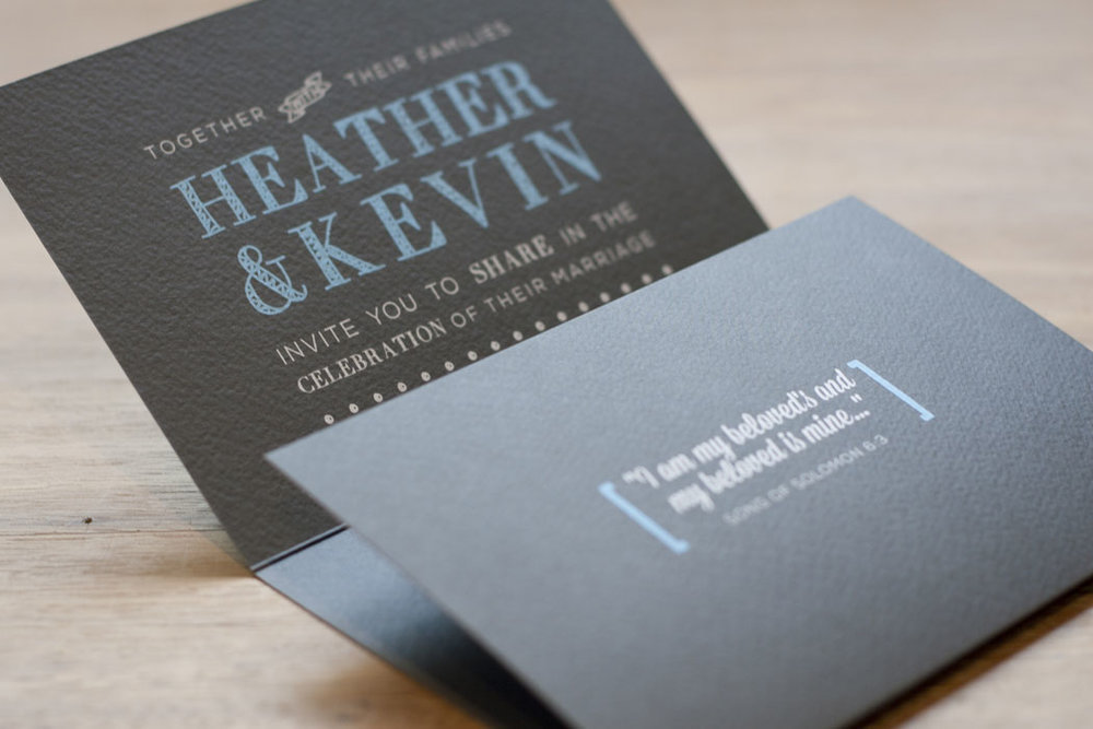 Grey and blue wedding folding invitation