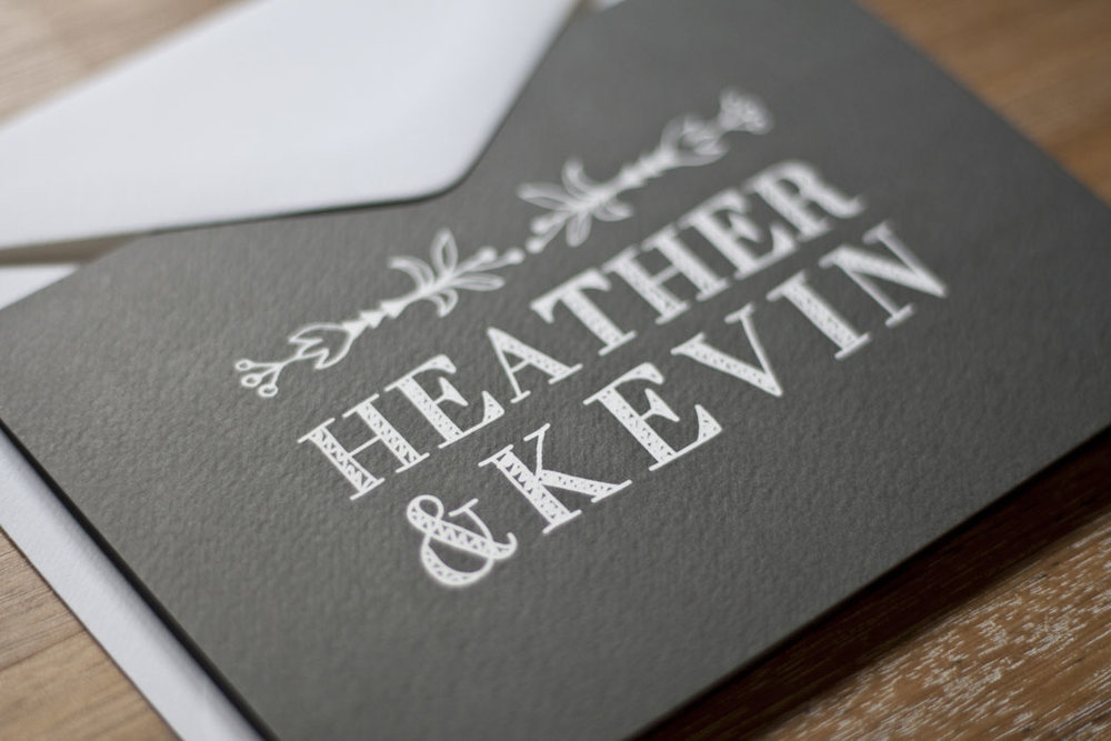 Grey and white Rustic Chic Wedding Invitation