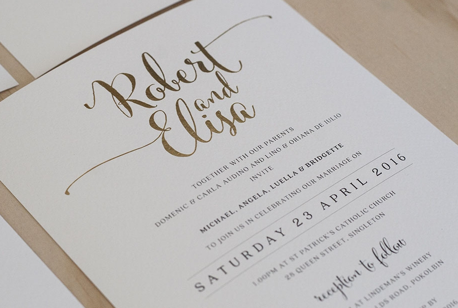 Formal Calligraphy Wedding Invitation Gold Foil