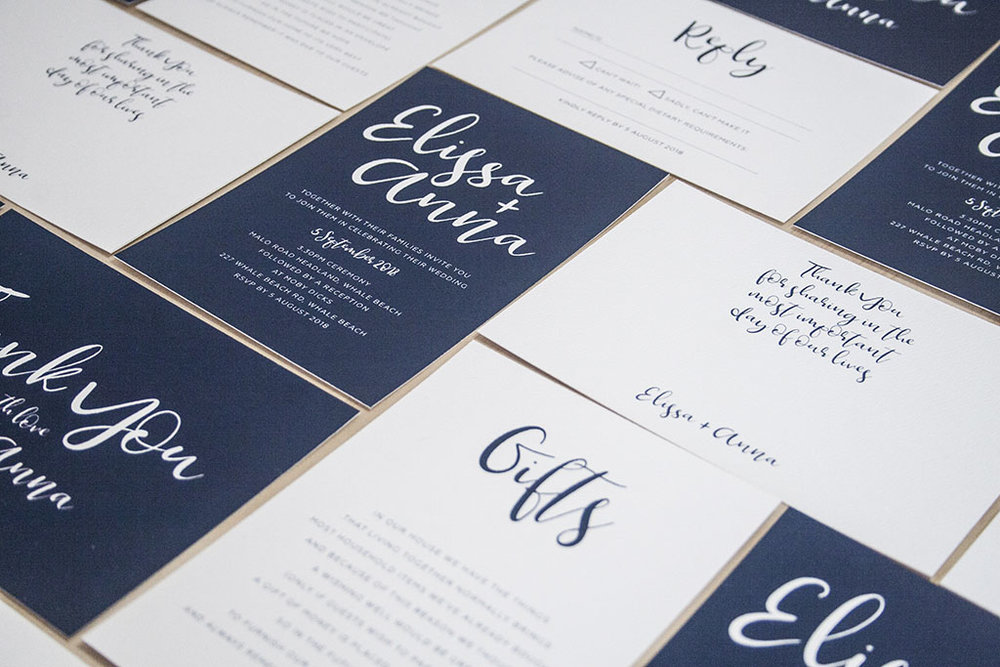 Navy Wedding Invitations Suite with Ribbon Calligraphy