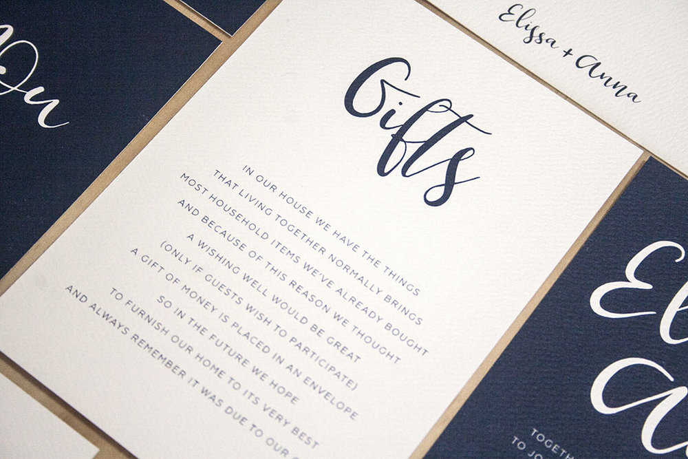 Navy Wedding Invitations Gift Wishing Well Card with Ribbon Calligraphy