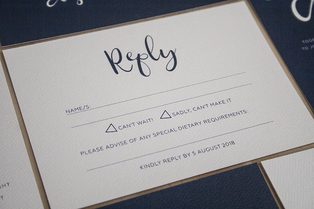 Navy Wedding Invitations RSVP Reply Card with Ribbon Calligraphy