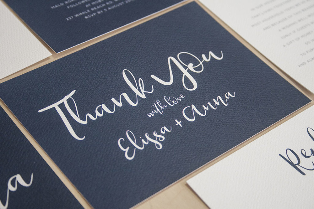 Navy Wedding Invitations Thank You Card with Ribbon Calligraphy
