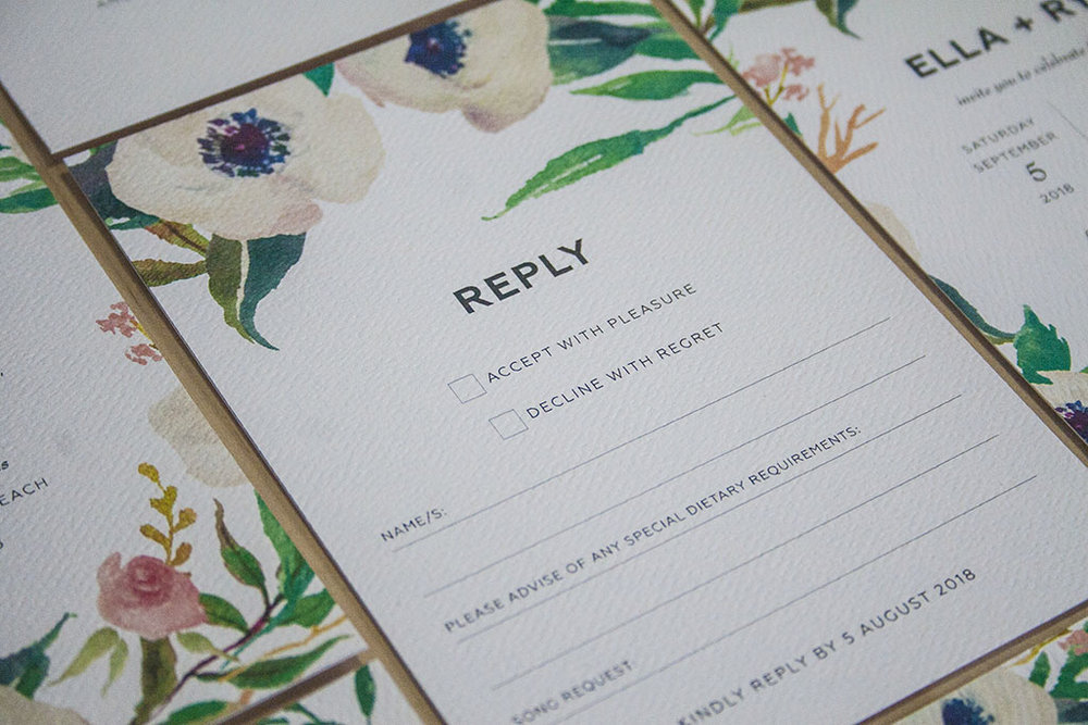 Invitation Reply RSVP card with white flowers and greenery