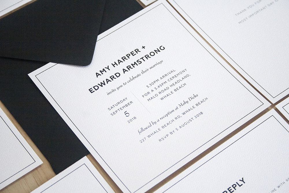 Black formal black tie wedding invitation with black envelopes