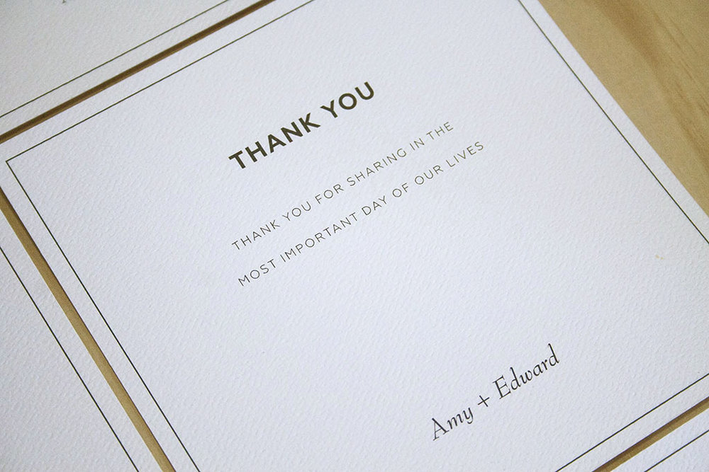 Black formal black tie wedding invitation thank you cards with black envelopes