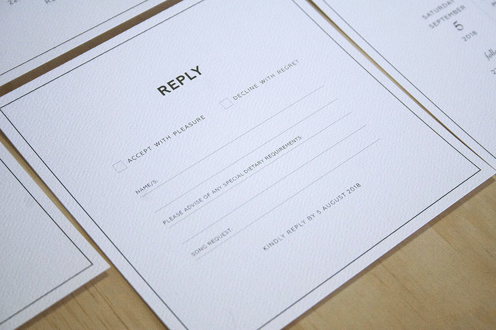 Black formal black tie wedding invitation reply rsvp cards with black envelopes