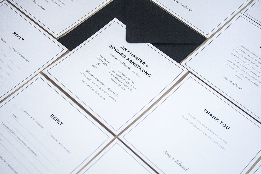 Black formal black tie wedding invitation suite with black envelopes