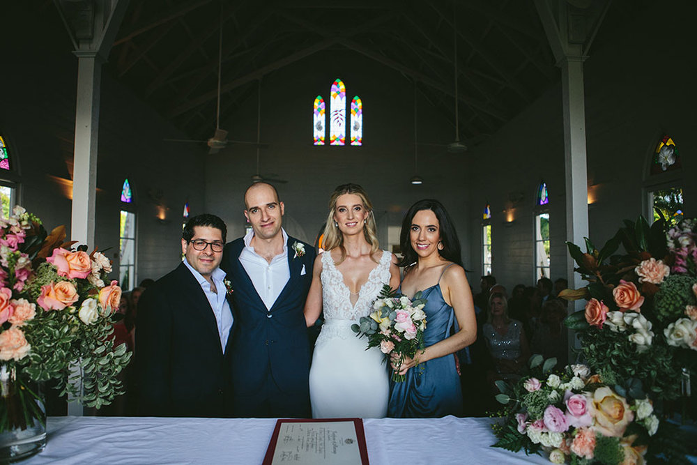 Wedding photo inside St Mary's by the sea in Port Douglas