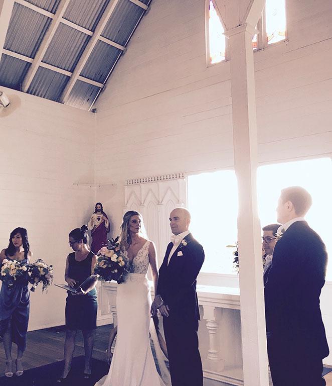 Katherine + Florian wedding service inside St Mary's by the Sea Port Douglas