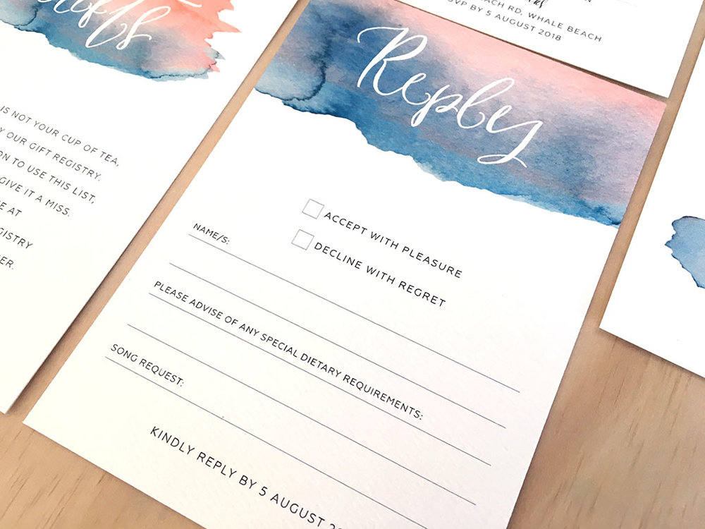 Watercolour splash rsvp reply card with calligraphy blush pink with navy