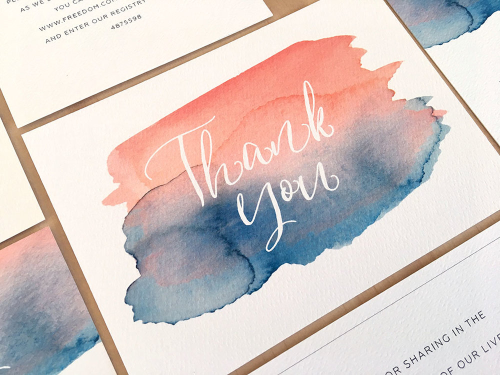 Watercolour splash thank you card with calligraphy blush pink with navy