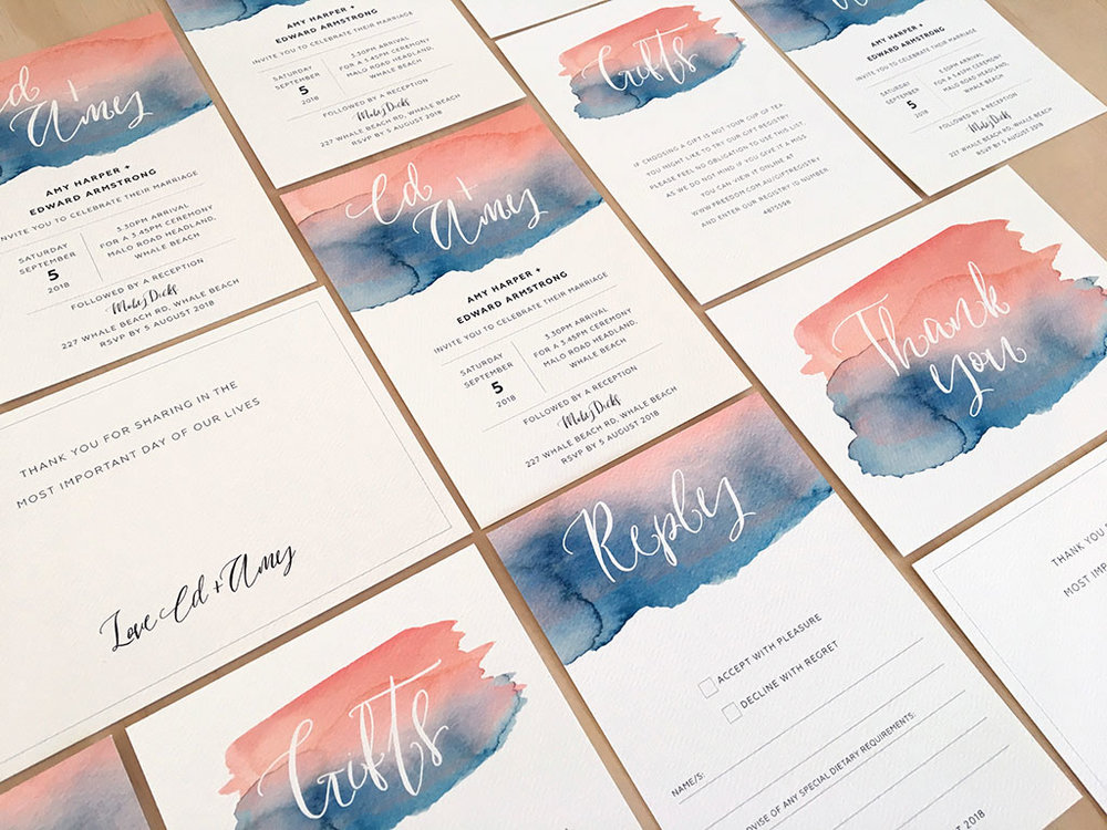 Watercolour splash invitation suite with calligraphy blush pink with navy