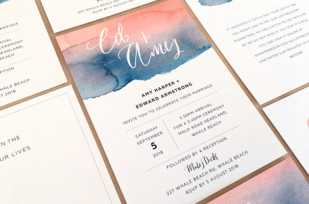 Watercolour splash invitation with calligraphy blush pink with navy