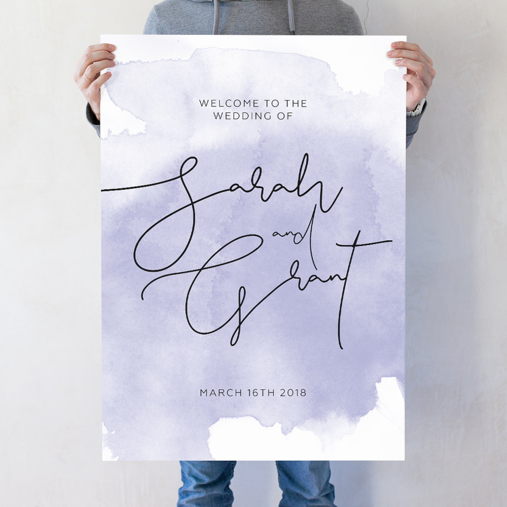 Watercolour Script Wedding Welcome Poster