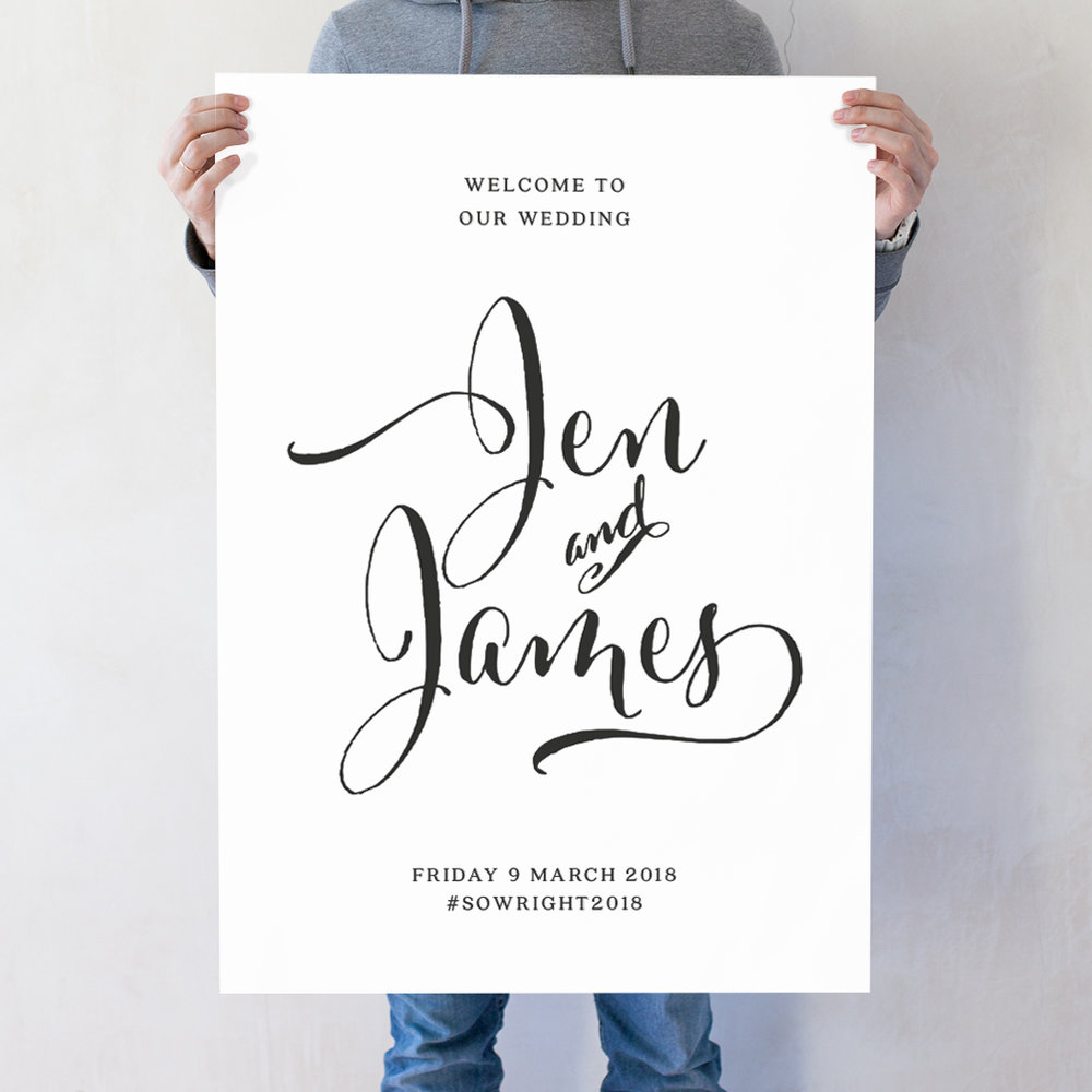Calligraphy Wedding Welcome Poster
