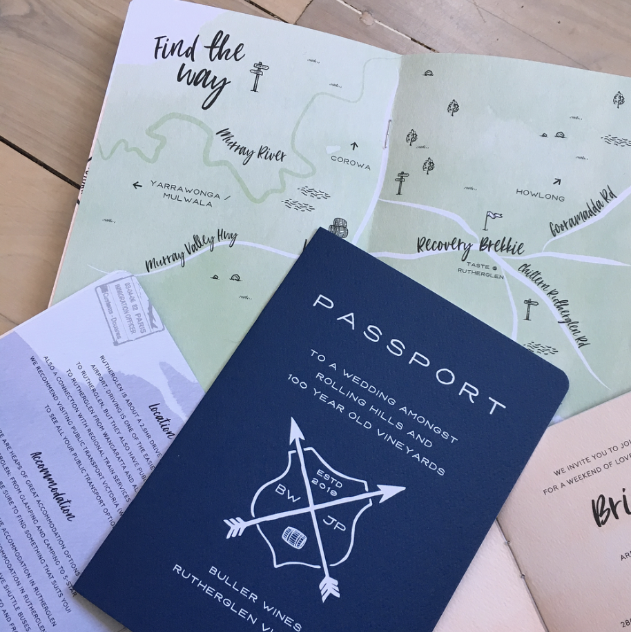 Destination Invitations / Custom Maps / Passport Invitations
